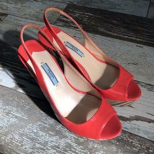Prada Peep Toe Slingback Heels